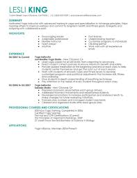 Resumes Yoga Instructor Resume Objective No Experience Ideas With