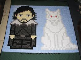 884 best KIDS QUILTS images on Pinterest | Beautiful, Free pattern ... & Pixel Jon Snow and Ghost quilt from the Game of Thrones TV show or A Song  of Ice and Fire book series Adamdwight.com