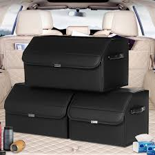 Collapsible Car Trunk Leather Storage Organizer with Lid, Large  Multipurpose Car Storage Box Bin SUV Van Cargo Carrier Caddy for Shopping  Camping Picnic Home Garage - Walmart.com - Walmart.com