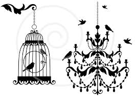 vintage chandelier with birds and birdcage lamp clipart clip art digital