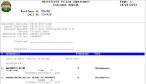 Police Reports Records Smithfield Police Department