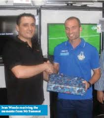 PressReader - Malta Independent: 2012-11-01 - Ivan Woods presented with  memento by Atoz Electronics