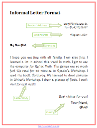 writing a letter format how to write an informal letter how to write letter