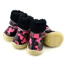 camo pu leather dog shoes winter dog boots pink