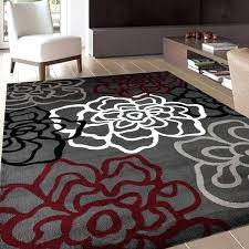 red and grey rugs contemporary modern fl flowers red and grey polypropylene area rug