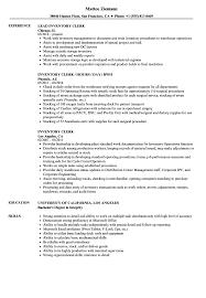 Inventory Clerk Resume Samples Velvet Jobs
