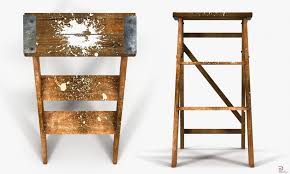 2 old wooden step ladder royalty free 3d model preview no 3