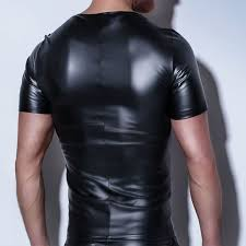 mens t shirt patent leather tshirts y menfashion tees tight shirts faux leather funny undershirts corset male clothing ping in stan