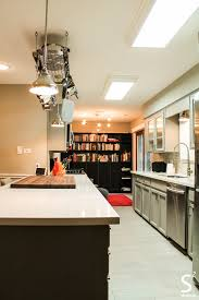 Kitchen Cabinets Houston Tx Kitchen Grey Cabinets Quartz Countertop Wood Cutting Board Red