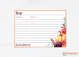 card recipe printable fall 3x5 and 4x6 recipe cards i should be
