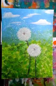 canvas paper acrylic painting dandelions two of a kind