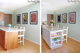 Diy bookcase kitchen island Hidden Room Kitchen Island Before And After Two Twenty One Kitchen Cabinet Makeover Reveal