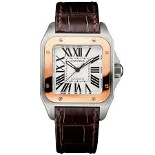 cartier cartier santos 100 medium 18ct pink gold steel strap watch
