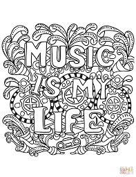 Music Is My Life Coloring Page Free Printable Pages Color Sheets