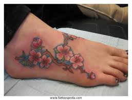 foot tattoos vines flowers 2