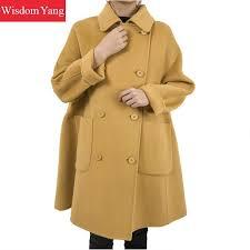2019 winter warm wool coat trench yellow sheep woollen korean coats long women oversize loose woolen overcoat office las outerwear from zhenhuang