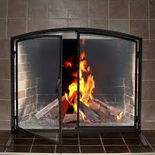 107073 beveled glass clear folding fireplace screen