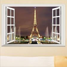 Eiffel Tower Home Decor Accessories Adorable 32D Window Paris Eiffel Tower Wall Stickers Art Vinyl Decal Mural