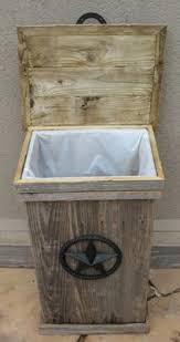 NEW Large Hand Made, Weathered Wood Outdoor Trash Can Kitchen Trash Cans,  Kitchen