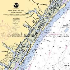 North Carolina Wrightsville Beach Nautical Chart Decor