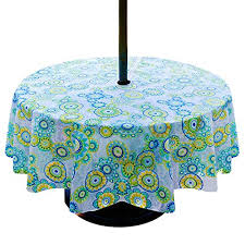 lamberia patio outdoor umbrella tablecloth with zipper and umbrella hole water and stain resistant 60 round