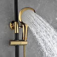 Copper European Shower Set Hot And Cold Faucet Black Gold