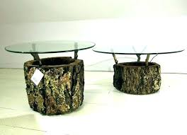 tree trunk table tree stump coffee table base trunk wood end round glass with