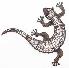 gecko metal outdoor wall art