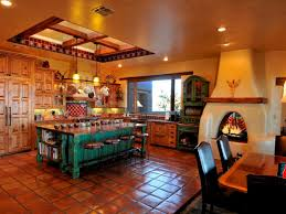 Kitchen:Stunning Traditional Interior With Mexican Kitchen Color Idea Also  Wall Mount Fireplace The Reddish