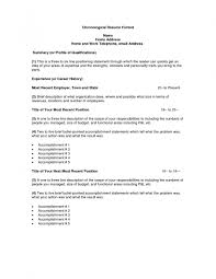 Examples Of Resumes Chronological Resume Format Home Address
