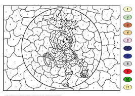 Christmas Color By Number Coloring Pages Christmas Monkey Color