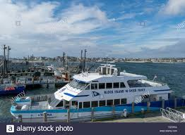 Block Island High Speed Ferry docked on the mainland side, Point Judith,  Rhodes Island Stock Photo - Alamy