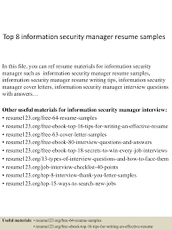 Top8informationsecuritymanagerresumesamples 150410090036 Conversion Gate01 Thumbnail 4 Jpg Cb 1428674479