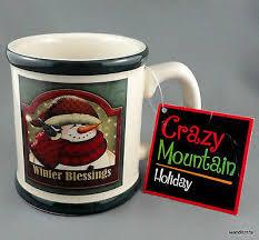 Coffee Mug <b>Crazy</b> Mountain <b>Holiday</b> Snowman Winter <b>Blessings</b> ...
