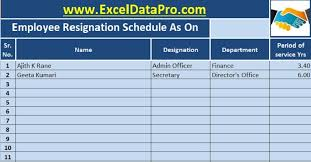 Resigned Format Download Employee Resignation Schedule Excel Template