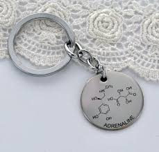 adrenaline molecule key chain chemistry of by blingyournamehere 15 00 snless steel gift for men gift for guys science jewelry keychain nerd geek