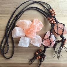 Mountain Decor Accessories Himalayan Salt Crystal Hemp Macrame Car Charm Rear View Mirror 90
