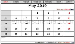 May Blank Calendars Blank Calendar May 2019