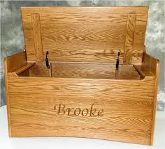 custom made amish hardwood name handmade back bench toy box solid oak chest two safety hinges