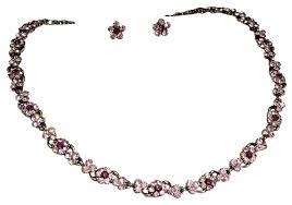 vintage crystal necklace fl and earrings set image 0 antique rock bead old swarovski necklaces