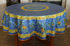 cigale blue acrylic cotton coated french provence tablecloth french oilcloth indoor outdoor table decor water stain resistant wipeable round circle