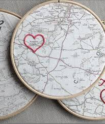 traditional 2nd second wedding anniversary gift customized vine map framed in a 7 wooden hoop with embroidered cotton heart by house of whatnot etsy