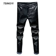 tsingyi fleece black scales snakeskin faux leather pants men motorcycle pant pu leather straight men pencil pants male trousers black full length 28 40