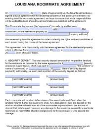 Free Louisiana Roommate Agreement Template – Pdf – Word