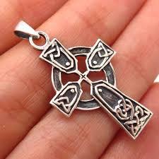 details about 925 sterling silver vintage celtic cross pendant