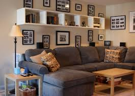 ... Wonderful Decorative White Wall Shelves For Living Room Glass Photo  Frames Wall Mounted Grey Microfiber Sectional