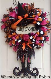 Halloween Deco Mesh Witch Wreath in Orange, Pink and Black with Reclaimed  Wood Welcome Sign