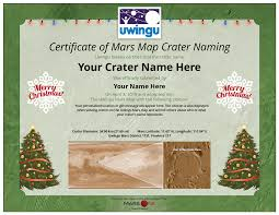 mars crater naming certificates uwingu christmas