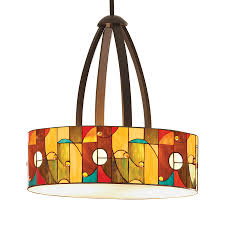 allen roth drakeston 20 in mission bronze tiffany style single stained glass drum pendant