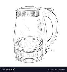 sketch of glass electric kettle vector image